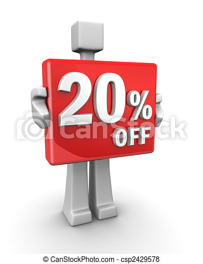Seasonal sales 20 pecent off for shopping discount - csp2429578