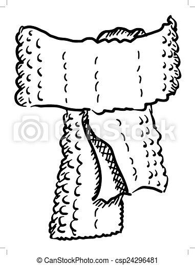 Vector - wool scarf - stock illustration, royalty free illustrations ...
