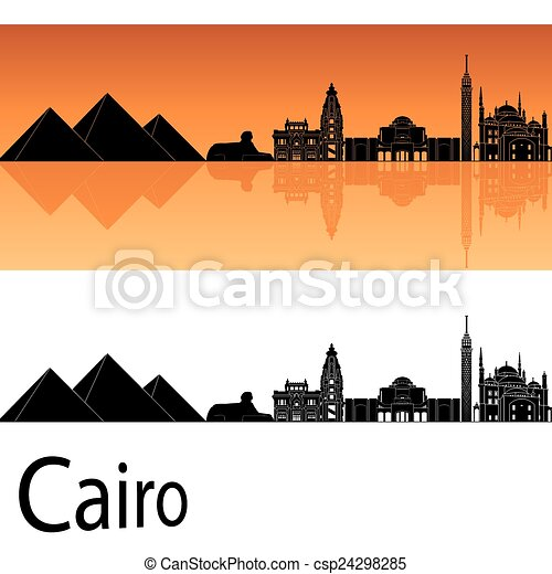vector of cairo skyline in orange background in editable