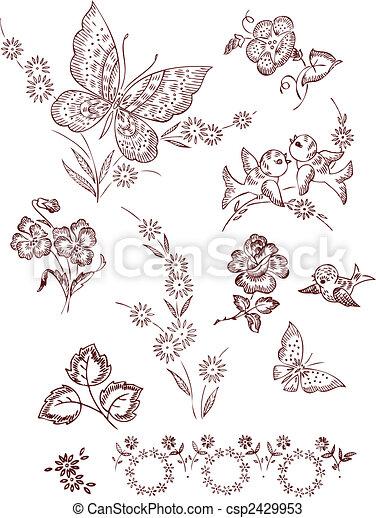 Flower Bird Butterfly Elements - csp2429953