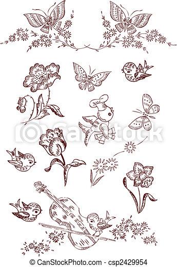 Flower Bird Butterfly Elements - csp2429954
