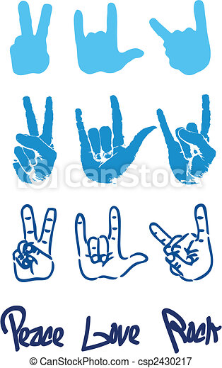 Peace hand sign logo love rock - csp2430217