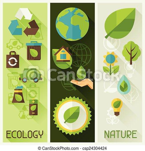 Vektor ökologie banner umwelt heiligenbilder stock