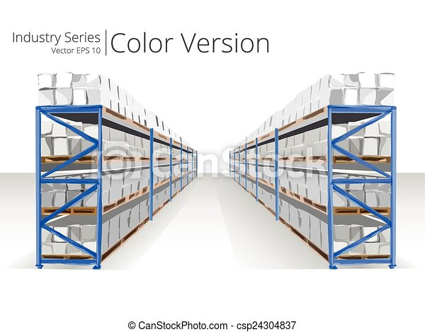Vectors of warehouse shelves vector illustration of for Draw layout warehouse