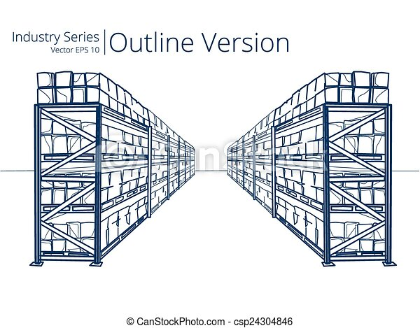 Eps vector of warehouse shelves vector illustration of for Draw layout warehouse