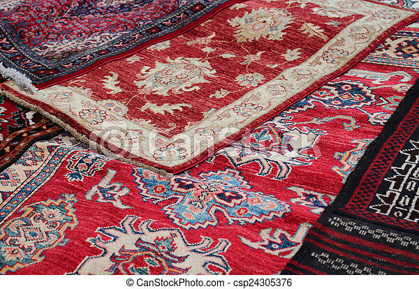 Asian rugs for sale in the shop of fabrics