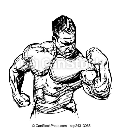 Clip Art Vector of Bodybuilder vector illustration on