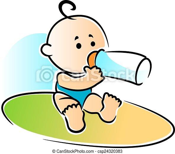 Vector Van Voederen Pasgeboren Fles Baby Drinkt