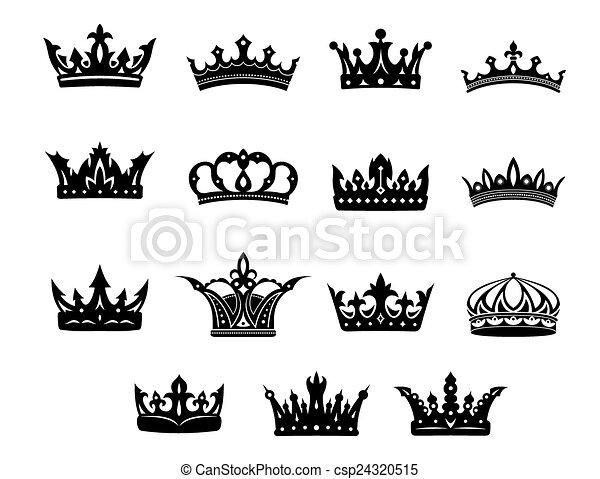Black and white royal crowns set - csp24320515