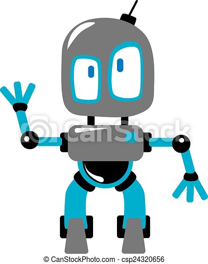 Clipart Vector of Funny cartoon robot or alien waving hand - Funny ...