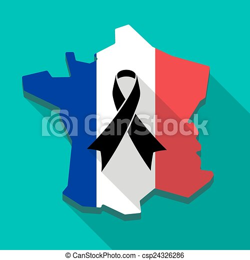 Vector of France flag map icon with a black ribbon - Long shadow ...