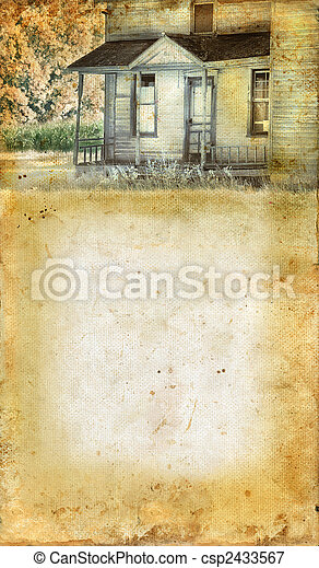 Abandoned Farmhouse Porch Grunge background - csp2433567
