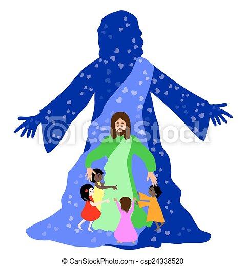 Vector Illustration Of Jesus Loves The Little Children