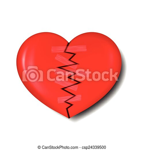 Vector Clipart of illustration of broken heart with plaster for ...
