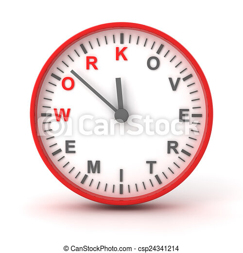 Clock With Work Overtime Text