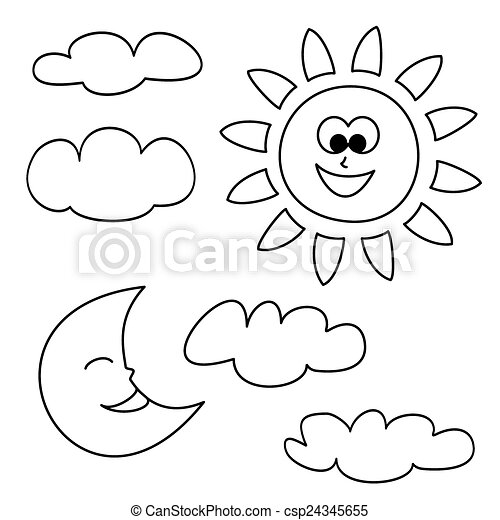 Clipart Vector of Sun, moon and clouds weather vector - Sun, moon ...
