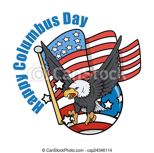 Vector Clip Art of Columbus Day Eagle with USA Flag Vector Graphic ...