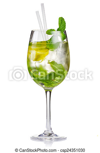 stock photos of alcohol cocktail hugo with lime and mint isolated on csp24351030 search. Black Bedroom Furniture Sets. Home Design Ideas