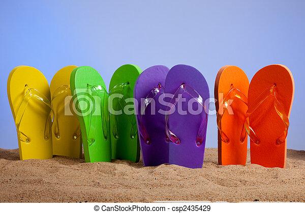 Colorful Flip-Flop Sandles on a Sandy Beach  - csp2435429