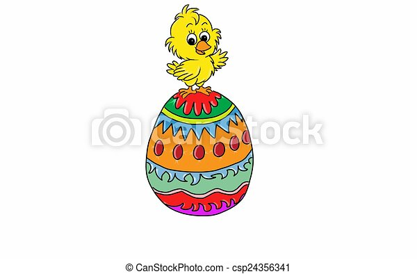 Easter check and large easter egg. - csp24356341