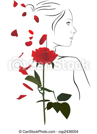 woman and rose - csp2436004
