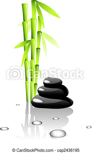 SPA. Bamboo and black stones. - csp2436195