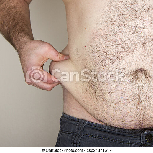 Belly fat being pinched