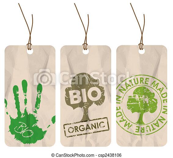 grunge tags for organic / bio / eco - csp2438106