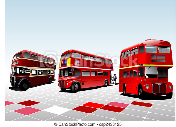 London double Decker  red bus. Vector illustration - csp2438125