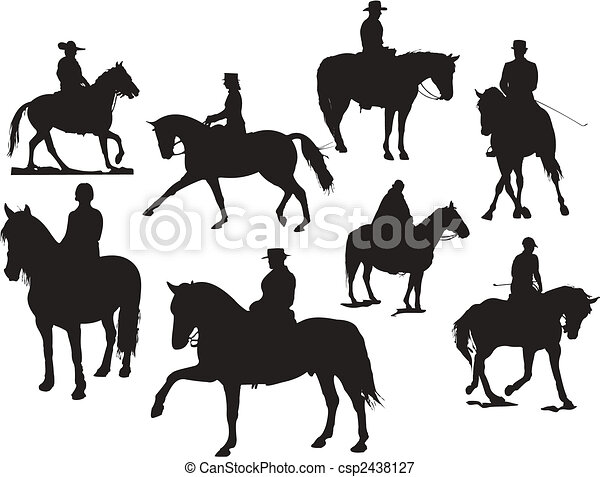 Eight  horse rider silhouettes. Vector illustration - csp2438127