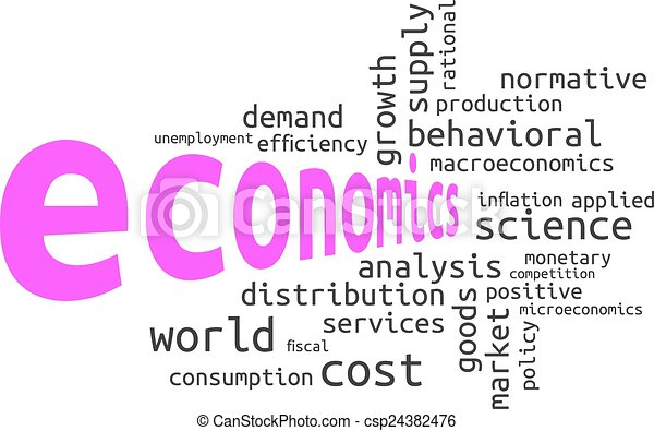 Clip Art Vector of Economics tags cloud - Economics and finance ...