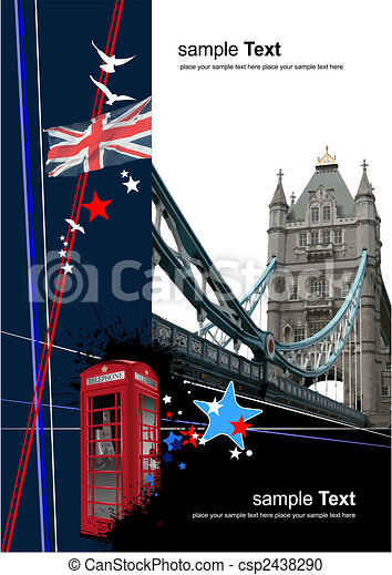 Cover for brochure with London images. Vector illustration - csp2438290