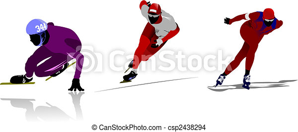 Skating colored silhouettes. Vector illustration - csp2438294