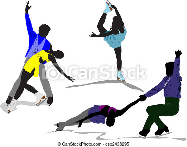 Figure skating colored silhouettes. Vector illustration - csp2438295