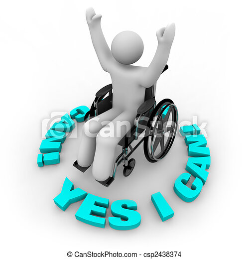 Determined Wheelchair Person - Yes I Can - csp2438374
