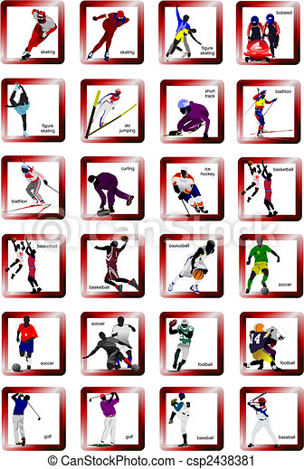 Sport silhouette icons. Vector illustration - csp2438381