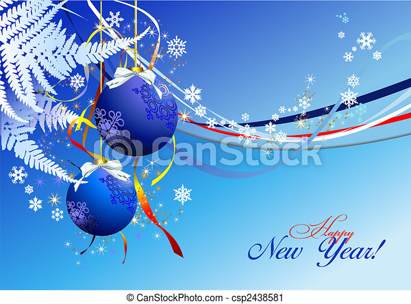 Christmas - New Year shine card with blue balls - csp2438581