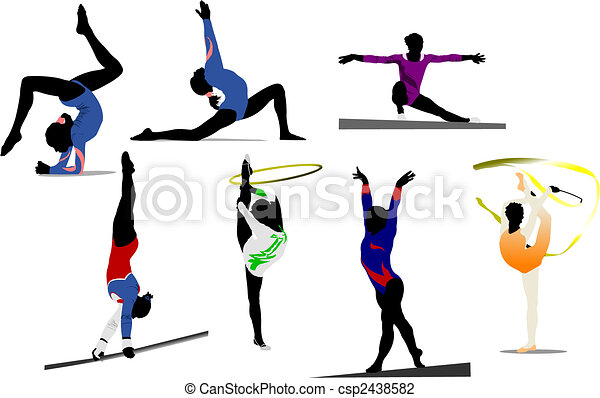 Woman gymnastic colored silhouettes. Vector illustration - csp2438582