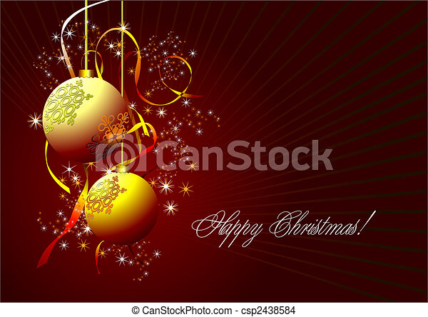 Christmas - New Year shine card with golden balls  - csp2438584