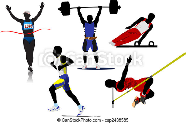 Athletic  sport silhouettes. Vector illustration - csp2438585