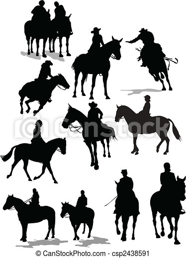 Horse riders silhouettes. Vector illustration - csp2438591