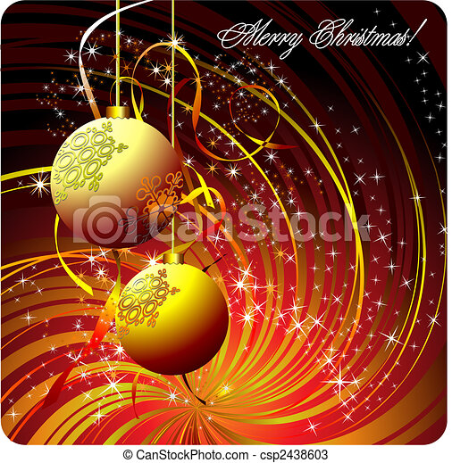 Christmas - New Year shine card with golden ball  - csp2438603