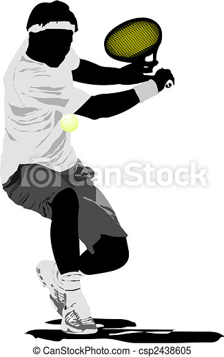 Tennis player. Vector illustration - csp2438605
