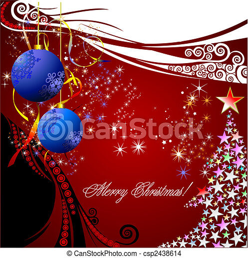 Christmas - New Year shine card with golden balls - csp2438614