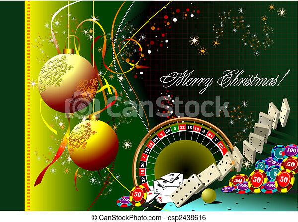 Christmas - New Year background with casino elements. Vector - csp2438616