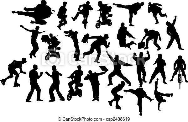 Man in action. Black and white silhouettes. Vector - csp2438619