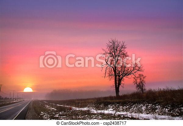 Winter Sun Set On Route 6 - csp2438717