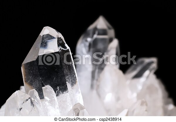 Quartz crystals on black - csp2438914