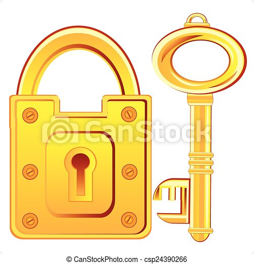 Gold lock and key vector clipart instant download csp24390266 - Locked door clipart ...