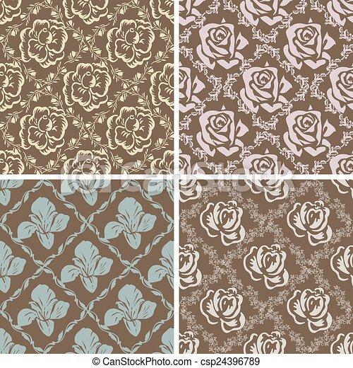 vecteur de ensemble seamless floral retro motifs. Black Bedroom Furniture Sets. Home Design Ideas